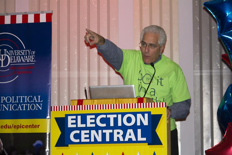 Ralph Begleiter addresses the crowd at Election Central 2012.