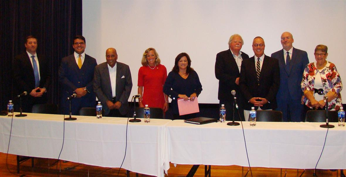 From left to right: Bryan Townsend, State Senator from the 7th District; Anthony Delcollo, State Senator from the 11th District; UD Professor Leland Ware; Clarie DeMatteis, Department of Correction Commissioner; Professor Nancy Karibjanian; Director of the Center for Political Communication, Ed Freel, Former Delaware Secretary of State; UD History Professor Jonathan Russ; UD Criminal Justice Professor Eric Rise; and Madeline Dunn, National Register Coordinator from the Delaware Historical & Cultural Affairs