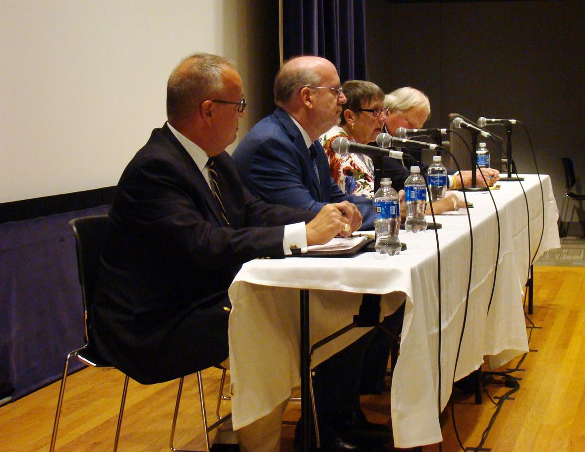 Constitution panel on September 19, 2019 at University of Delaware's Trabant Theatre with Jonathan Russ, Eric Rise, Madeline Dunn, and Edward Freel (moderator).