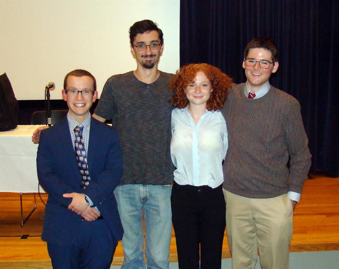 University of Delaware2019-20 History Club Officers (left to right): President Justin Richards, Treasurer Evan Minnigh, Secretary Sophie Zaidman and Vice-President Aaron Rubin.